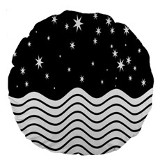 Black And White Waves And Stars Abstract Backdrop Clipart Large 18  Premium Round Cushions