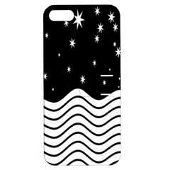 Black And White Waves And Stars Abstract Backdrop Clipart Apple iPhone 5 Hardshell Case with Stand