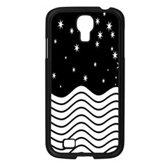 Black And White Waves And Stars Abstract Backdrop Clipart Samsung Galaxy S4 I9500/ I9505 Case (Black)