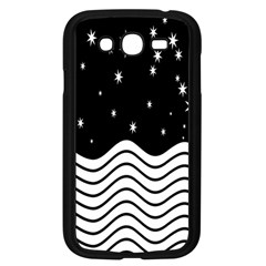 Black And White Waves And Stars Abstract Backdrop Clipart Samsung Galaxy Grand DUOS I9082 Case (Black)