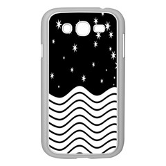 Black And White Waves And Stars Abstract Backdrop Clipart Samsung Galaxy Grand DUOS I9082 Case (White)