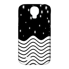 Black And White Waves And Stars Abstract Backdrop Clipart Samsung Galaxy S4 Classic Hardshell Case (PC+Silicone)