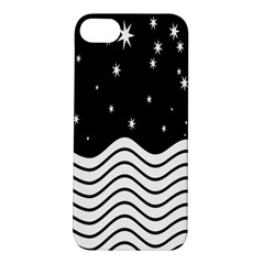Black And White Waves And Stars Abstract Backdrop Clipart Apple iPhone 5S/ SE Hardshell Case