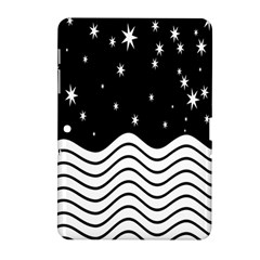 Black And White Waves And Stars Abstract Backdrop Clipart Samsung Galaxy Tab 2 (10.1 ) P5100 Hardshell Case