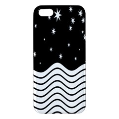 Black And White Waves And Stars Abstract Backdrop Clipart Iphone 5s/ Se Premium Hardshell Case