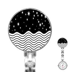 Black And White Waves And Stars Abstract Backdrop Clipart Stainless Steel Nurses Watch