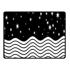 Black And White Waves And Stars Abstract Backdrop Clipart Double Sided Fleece Blanket (Small)