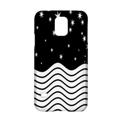 Black And White Waves And Stars Abstract Backdrop Clipart Samsung Galaxy S5 Hardshell Case