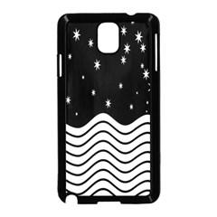 Black And White Waves And Stars Abstract Backdrop Clipart Samsung Galaxy Note 3 Neo Hardshell Case (Black)
