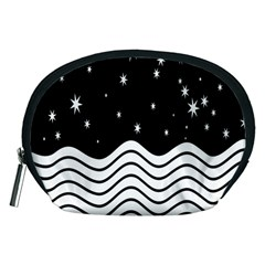 Black And White Waves And Stars Abstract Backdrop Clipart Accessory Pouches (Medium)