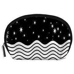 Black And White Waves And Stars Abstract Backdrop Clipart Accessory Pouches (Large)