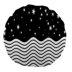 Black And White Waves And Stars Abstract Backdrop Clipart Large 18  Premium Flano Round Cushions