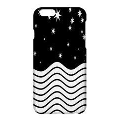 Black And White Waves And Stars Abstract Backdrop Clipart Apple iPhone 6 Plus/6S Plus Hardshell Case