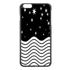 Black And White Waves And Stars Abstract Backdrop Clipart Apple Iphone 6 Plus/6s Plus Black Enamel Case