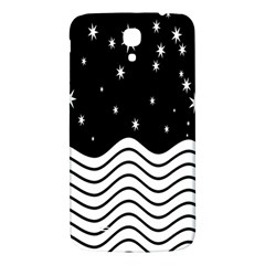 Black And White Waves And Stars Abstract Backdrop Clipart Samsung Galaxy Mega I9200 Hardshell Back Case