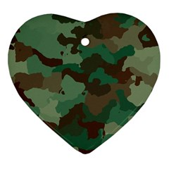 Camouflage Pattern A Completely Seamless Tile Able Background Design Ornament (heart)