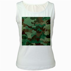 Camouflage Pattern A Completely Seamless Tile Able Background Design Women s White Tank Top