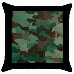 Camouflage Pattern A Completely Seamless Tile Able Background Design Throw Pillow Case (Black)