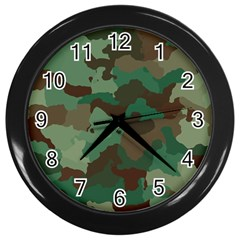 Camouflage Pattern A Completely Seamless Tile Able Background Design Wall Clocks (black)