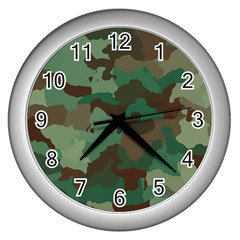 Camouflage Pattern A Completely Seamless Tile Able Background Design Wall Clocks (Silver)