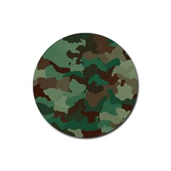 Camouflage Pattern A Completely Seamless Tile Able Background Design Rubber Round Coaster (4 pack)