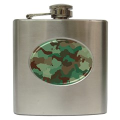 Camouflage Pattern A Completely Seamless Tile Able Background Design Hip Flask (6 oz)