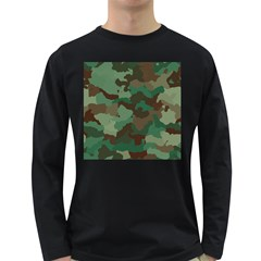 Camouflage Pattern A Completely Seamless Tile Able Background Design Long Sleeve Dark T-Shirts