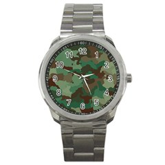 Camouflage Pattern A Completely Seamless Tile Able Background Design Sport Metal Watch
