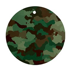 Camouflage Pattern A Completely Seamless Tile Able Background Design Round Ornament (Two Sides)