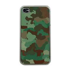 Camouflage Pattern A Completely Seamless Tile Able Background Design Apple iPhone 4 Case (Clear)