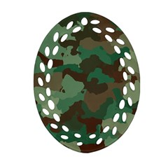 Camouflage Pattern A Completely Seamless Tile Able Background Design Oval Filigree Ornament (Two Sides)