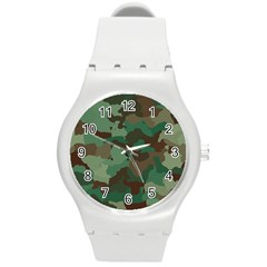 Camouflage Pattern A Completely Seamless Tile Able Background Design Round Plastic Sport Watch (M)