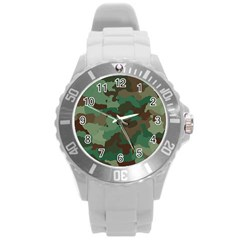 Camouflage Pattern A Completely Seamless Tile Able Background Design Round Plastic Sport Watch (L)
