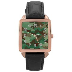 Camouflage Pattern A Completely Seamless Tile Able Background Design Rose Gold Leather Watch