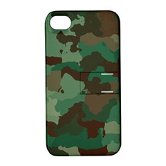 Camouflage Pattern A Completely Seamless Tile Able Background Design Apple iPhone 4/4S Hardshell Case with Stand