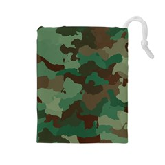 Camouflage Pattern A Completely Seamless Tile Able Background Design Drawstring Pouches (Large)