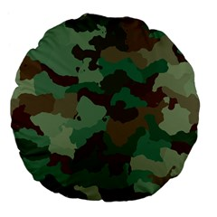Camouflage Pattern A Completely Seamless Tile Able Background Design Large 18  Premium Flano Round Cushions