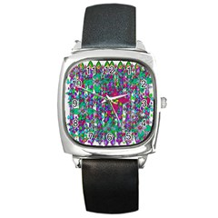 Sunny Roses In Rainy Weather Pop Art Square Metal Watch