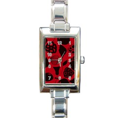 Congregation Of Floral Shades Pattern Rectangle Italian Charm Watch