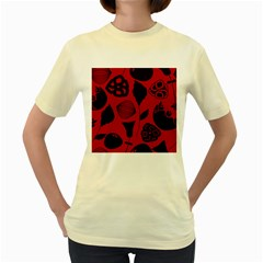 Congregation Of Floral Shades Pattern Women s Yellow T Shirt
