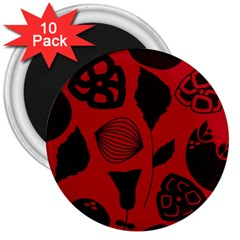 Congregation Of Floral Shades Pattern 3  Magnets (10 pack)