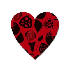 Congregation Of Floral Shades Pattern Heart Magnet