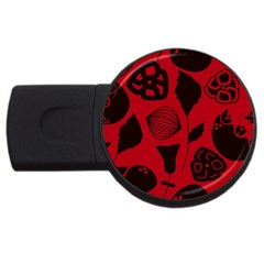 Congregation Of Floral Shades Pattern USB Flash Drive Round (1 GB)