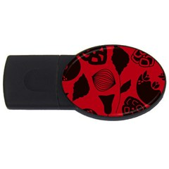 Congregation Of Floral Shades Pattern USB Flash Drive Oval (1 GB)