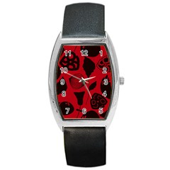 Congregation Of Floral Shades Pattern Barrel Style Metal Watch