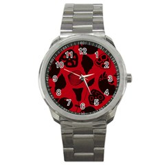 Congregation Of Floral Shades Pattern Sport Metal Watch