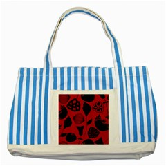 Congregation Of Floral Shades Pattern Striped Blue Tote Bag