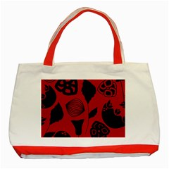 Congregation Of Floral Shades Pattern Classic Tote Bag (red)