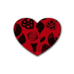 Congregation Of Floral Shades Pattern Heart Coaster (4 Pack)