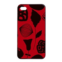 Congregation Of Floral Shades Pattern Apple iPhone 4/4s Seamless Case (Black)